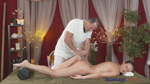 Masseur fucks oiled client and cums inside her twat