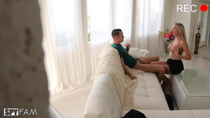 Busty young beauty Brett Rossi gets fucked on a couch