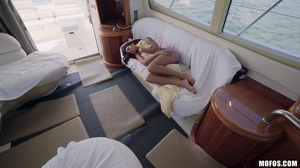 Exotic young brunette has lots of fun on the yacht