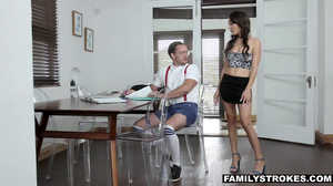 Blue eyed young brunette is a pro at blowjobs