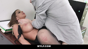 Sexy whore in stickings is fucked in the office