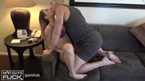Yooung shorthaired dude has lots of fun with the girl