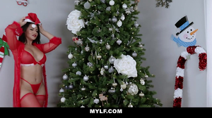 Christmas fucking with a bald dude and a MILF