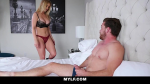 Lad is sixtynining with a busty blonde MILF