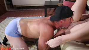 Dude in a cap is fucking a stunning brunette