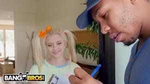 Petite pigtailed blonde teen fucks the black mailman