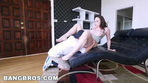 Horny brunette MILF seduces a young slender fellow