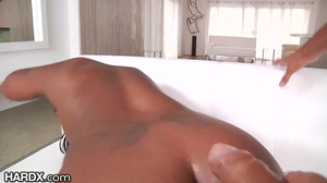 Ebony brunette has interracial sex with her boyfriend